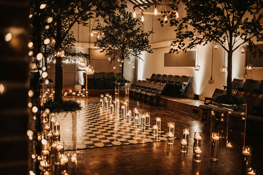 Beautiful candlelit wedding ceremony