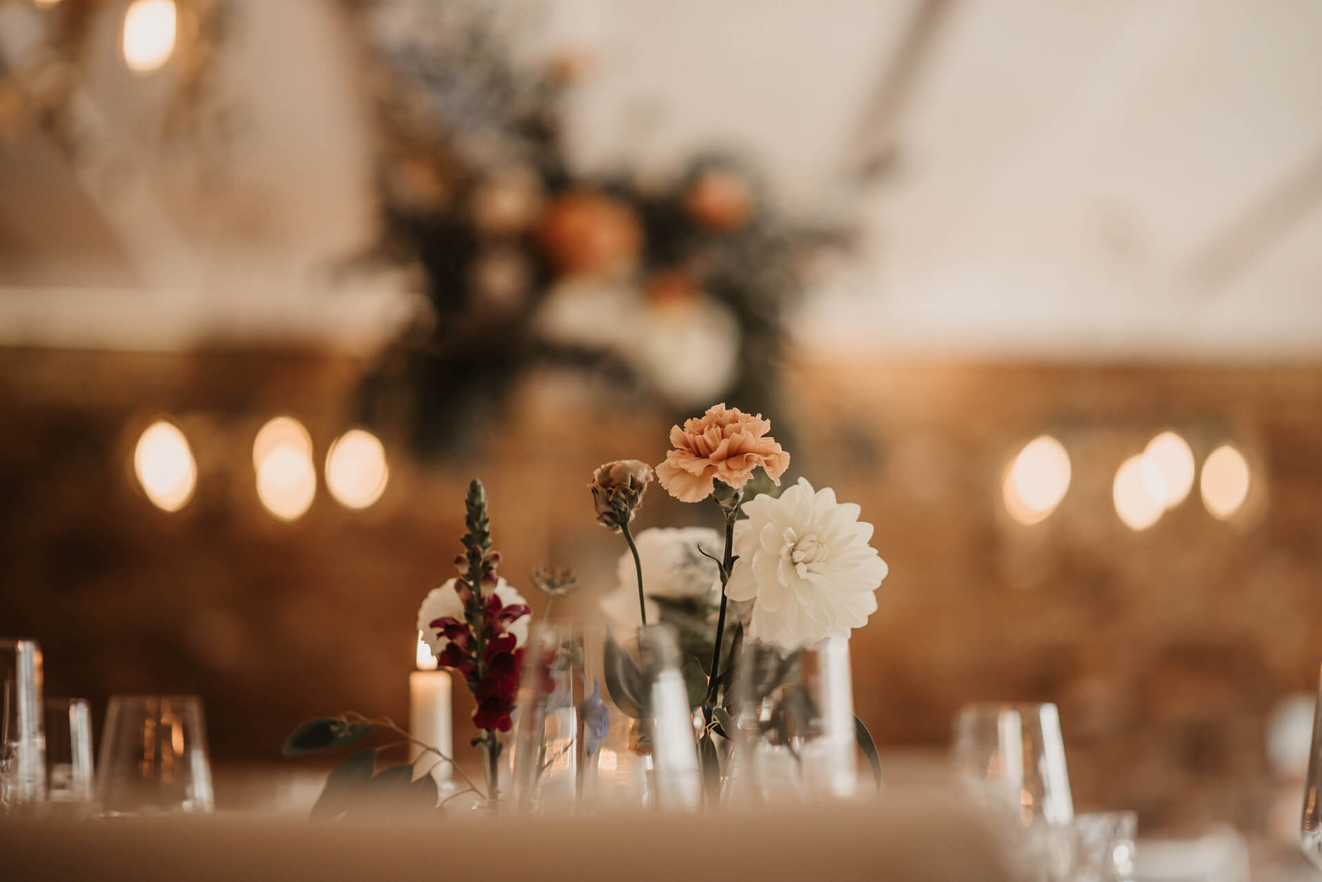 Beautiful flowers on a dining table