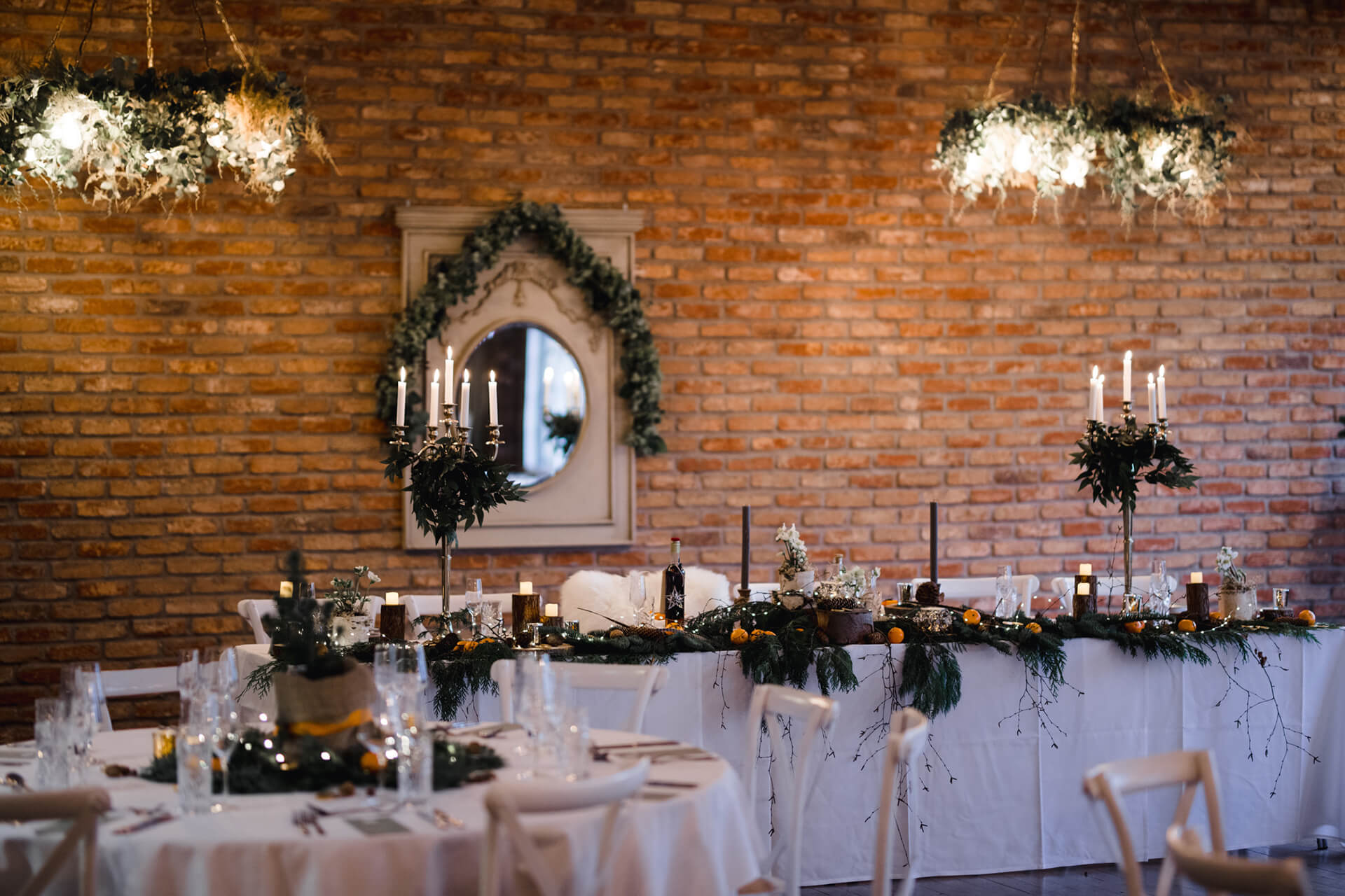 Christmas wedding head table arrangement