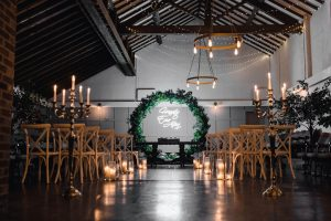 Wedding ceremony room with Christmas decor